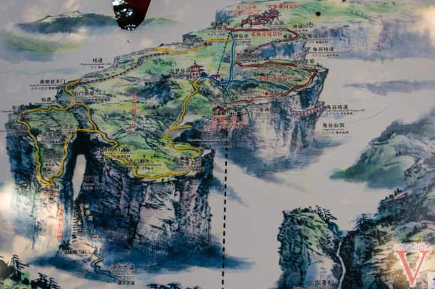 carte de tianmen mountain